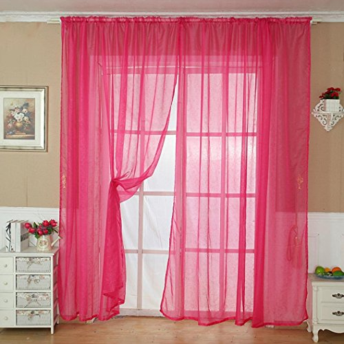 Solid Color Tulle Door Window Curtain Drape Panel Sheer Scarf Valance White - 9