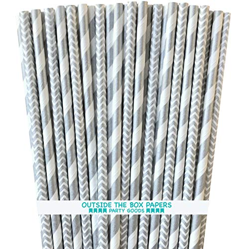 (Silver and White Paper Straws - Stripe and Chevron - 7.75 Inches - 50 Pack - Outside the Box Papers Brand)