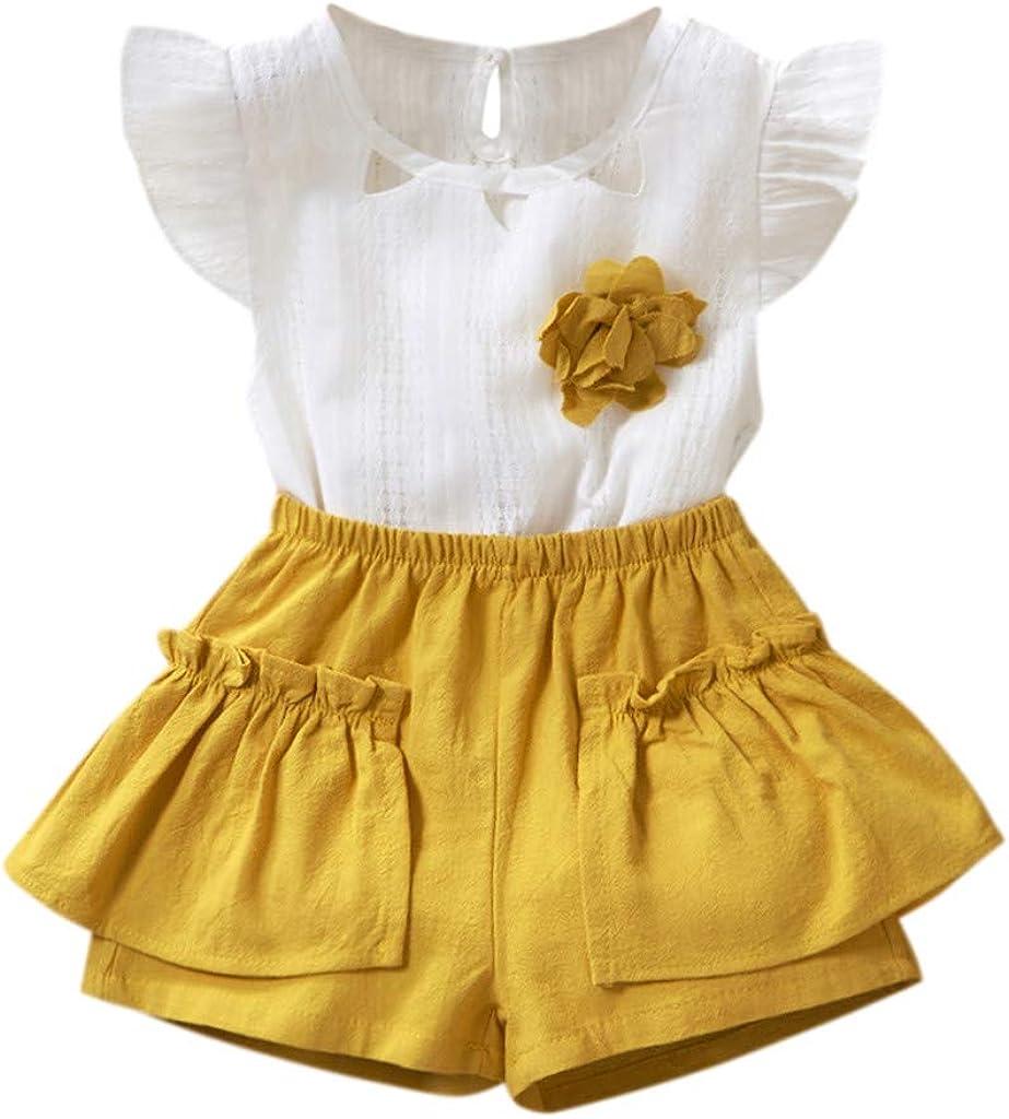 Ropa Conjuntos para bebé niña, Tops y Pantalones Cortos Flores ...