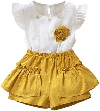 Ropa Conjuntos para bebé niña, Tops y Pantalones Cortos Flores Camiseta Manga Corto Bebes niños niñas Algodon Verano Camisa volantles Amarillo 5-6 años: Amazon.es: Ropa y accesorios