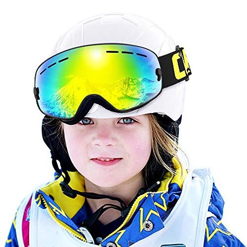 COPOZZ Kids Ski Goggles, G3 Kids Snow Snowboard Goggles - Helmet Compatible Over Glasses OTG Design Non-Slip Strap UV Protection for Children Youth Boys Girls