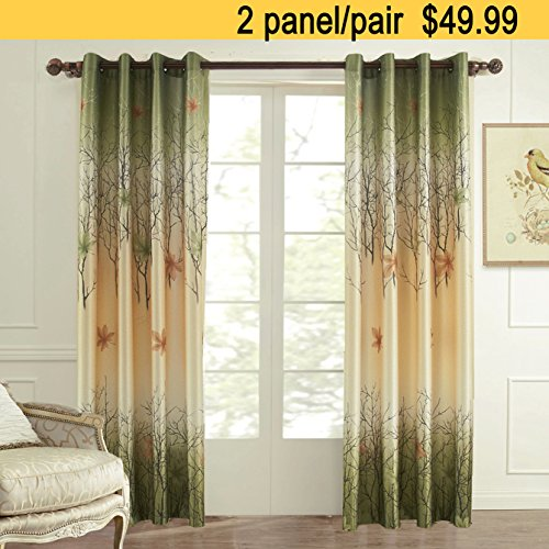 KoTing Green Maple Leaf Curtains Gorgeous Tree Lined Window Curtains Grommet Top 2 panel Custom Made Drapes 96 inch Long 50 96