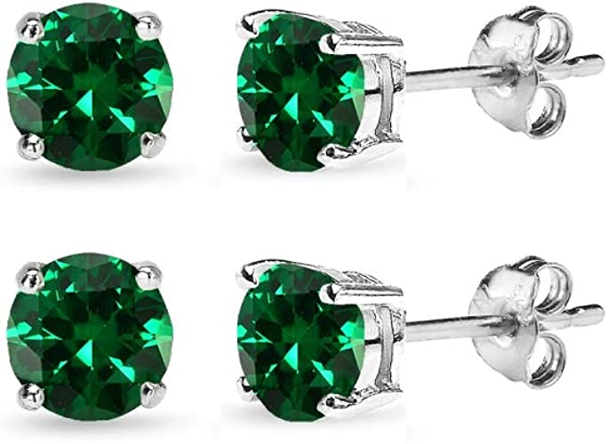 Stainless Steel Prong-Set Square Stud Earrings with Green Emerald CZ pair