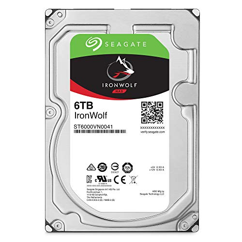 Seagate IronWolf 6TB NAS Internal Hard Drive HDD - 3.5 Inch SATA 6Gb/s 7200 RPM 256MB Cache for RAID Network Attached Storage - Frustration Free Packaging (ST6000VN0033)