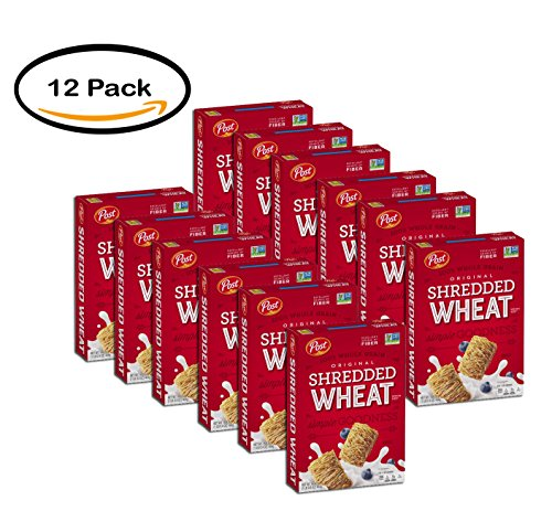 PACK OF 12 - Post Shredded Wheat Spoon Size Original Cereal 16.4 oz. Box