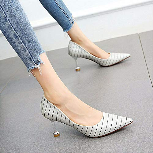 YMFIE La Multa de Las Mujeres con Lentejuelas a Rayas Puntiagudas Zapatos de Tacones Altos con Tacones Altos A