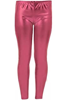58085af6f0ff6 R KON New Girls Kids Plain Metallic Hot Wet Look Foil Shiny Party Disco  Pants Leggings