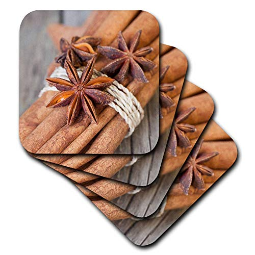 (3dRose Andrea Haase Christmas Photography - Close Up Photography With Star Anise And Cinnamon Sticks - set of 4 Ceramic Tile Coasters (cst_318599_3))