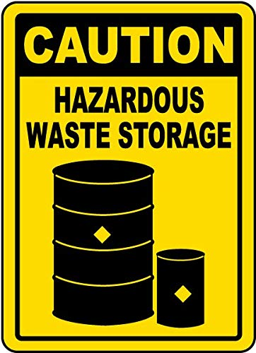 Traffic Signs - Caution Hazardous Waste Storage Sign 12 x 18 Aluminum Sign Street Weather Approved Sign 0.04 -
