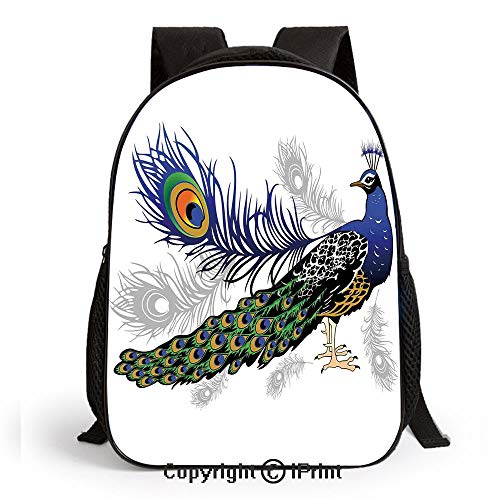 Preschool Backpack for Kids Girls Toddler Male Peacock Feathers Springtime Wilderness Crowned Majestic Animal Pattern Kindergarten School Bookbags, ()