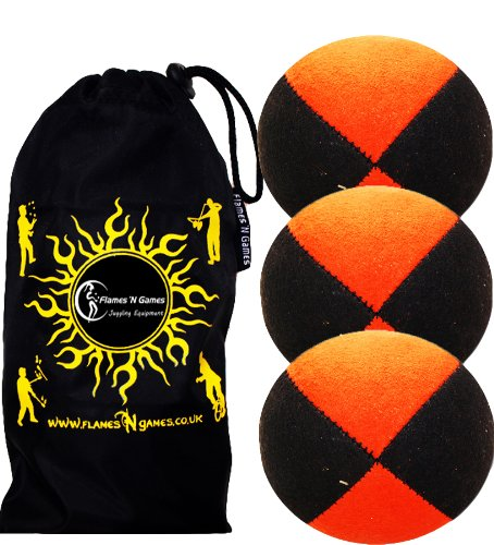 3x Pro Thud Juggling Balls - Deluxe (SUEDE) Professional Juggling Ball Set of 3 with ''Kid-Jo Learn To Juggle'' DVD, and Fabric Travel Bag! (Black/Orange)