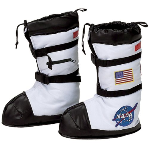 For Astronaut Costumes Child (Aeromax Astronaut Boots, Size Medium, White, with NASA)