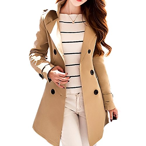 Blostirno Double-Breasted Slim-fit Winter Trench Coat (Khaki 6) (Women Korean Coats)