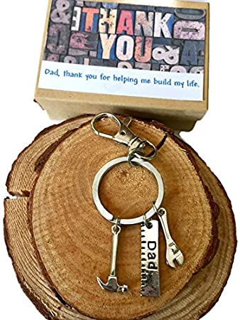 Fathers Day Gifts for Dad Thank You for Helping Me Build My Life Birthday  Gifts for Dad Daughter Gifts Keychain & Gift Box Bundle