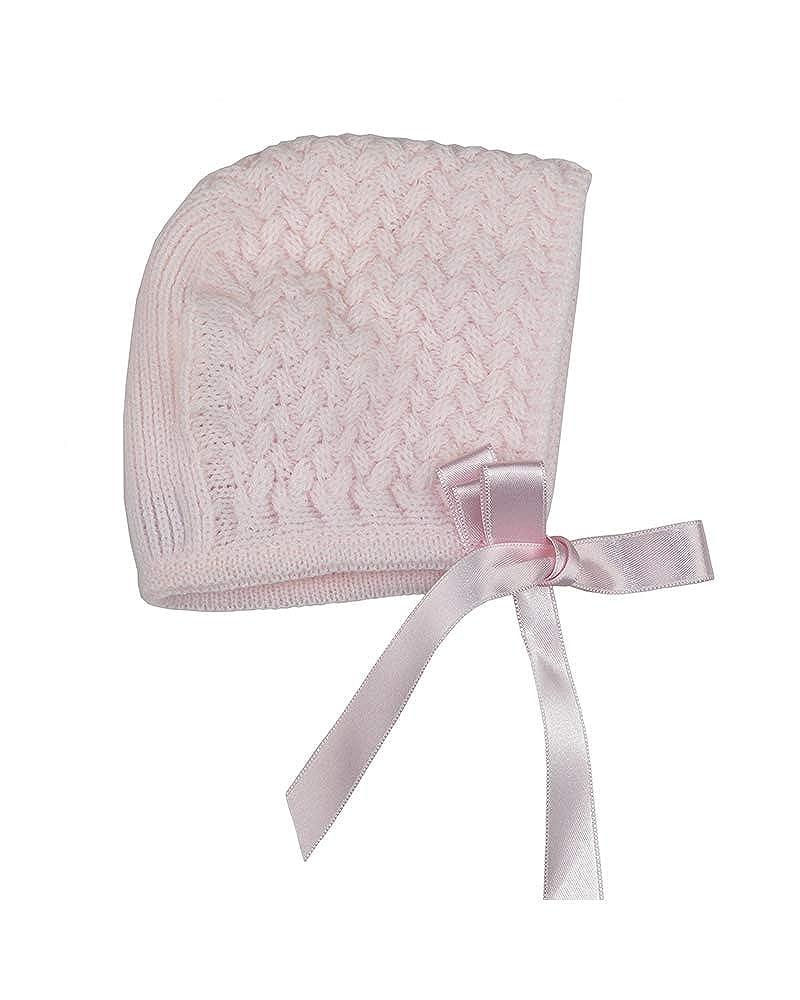 724a59b3d Foque - faldón para niña con Capota a Juego. Cuerpo de Punto en Rosa bebé y  Falda de plumeti. Adornado con Lazo (Rosa y Blanco