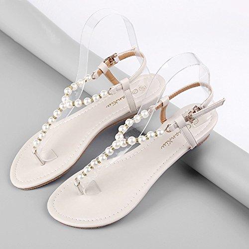 LvRao Muier Sandalias Verano Zapatos Peep-dedo del pie Zapatos Bajos Sandalias Perla Beige #3