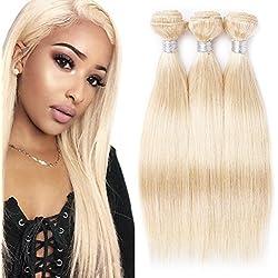 VIOLET Brazilian 613 Blonde Hair 3 Bundles Silky Straight Wavy Brazilian Human Hair 613 Blonde Bundles Unprocessed Human Hair Weave Weft 300g Mixed Length 10 12 14 Inch