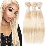 613 Blonde Human Hair 3 Bundles Straight Hair Weave 100% Unprocessed Brazilian Virgin