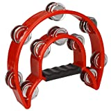 FidgetFidget Hand Held Tambourine Double Row Metal Jingles Tamborine Percussion Instrument