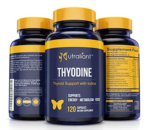 #1 Thyroid Support Supplement w/Iodine, Vitamin B12, Magnesium, Selenium, L-Tyrosine, Ashwagandha, Bladderwrack + Supports Energy, Metabolism & Brain Function - Big Savings 2X Amount @ 120 Capsules