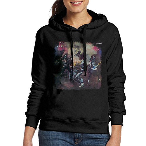 Price comparison product image IcyHot Women's Hoodies Kiss ALIVE ROCK N ROLL Print Size L Black
