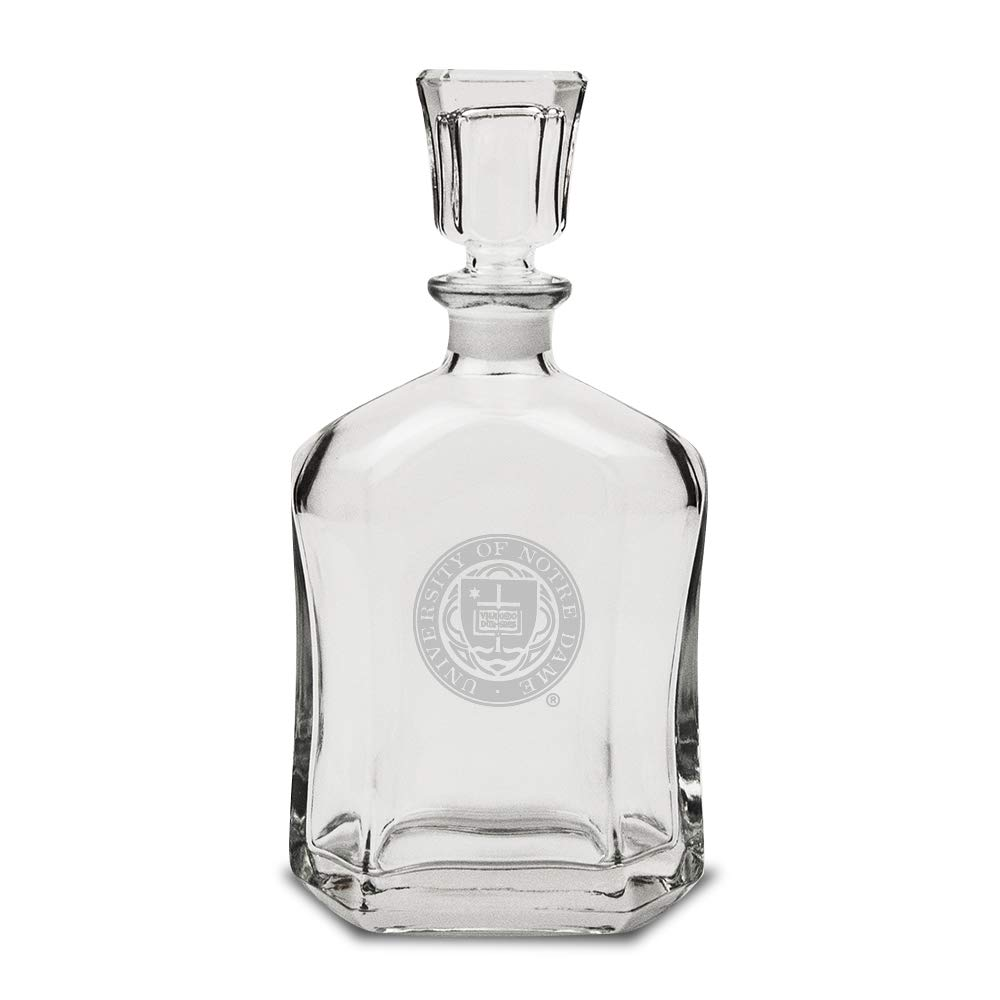 Clear 23.75 oz NCAA Notre Dame Fighting Irish Seal Logo Whiskey Decanter