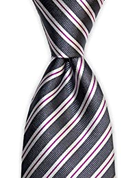 "<span class=""a-offscreen"">[Sponsored]</span>Classic Grey and Pink Silk Striped Necktie by TieThis 