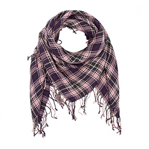 100% Cotton Tactical Military Shemagh Premium Arabic Desert Keffiyeh Scarf Wrap (Pink Black) (Shemagh Wear Desert)