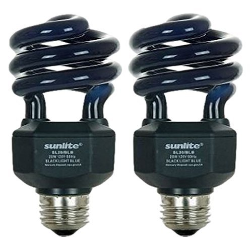 Sunlite SL20/BLB 20 Watt Spiral Energy Saving CFL Light Bulb Medium Base Blacklight Blue - 2 Pack
