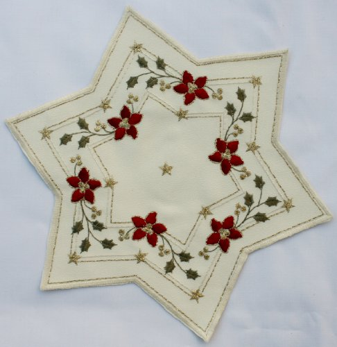 Christmas Doily. Star Shaped, Cream Colored with Red Poinsettias Holly