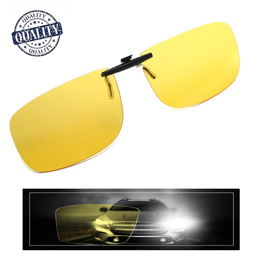 AHT Night Vision Glasses Clip-on, Yellow Anti-glare HD Vision, Foggy/ Rainy Days for Safety Driving/Fishing Eyewear, Super Light Lenses for Men/ Women by AHT
