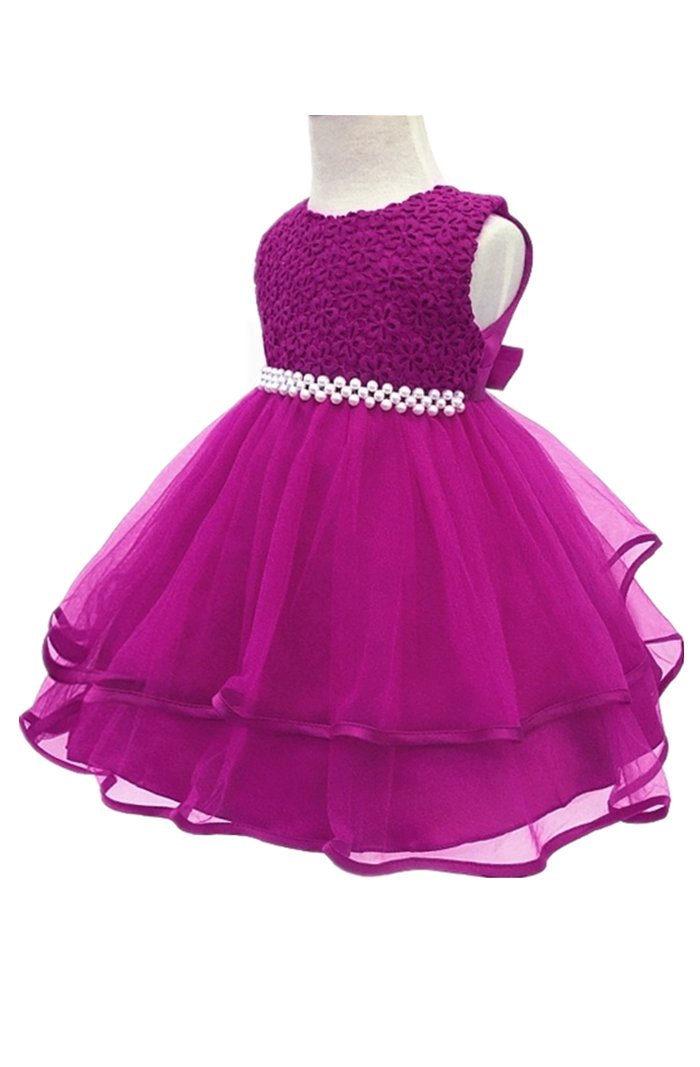 HX Infant and Toddler Princess Pearl Tutu Special Occasion Dresses for Baby Girl's Wedding Party (3M/Fit 0-5 Months, Purple)