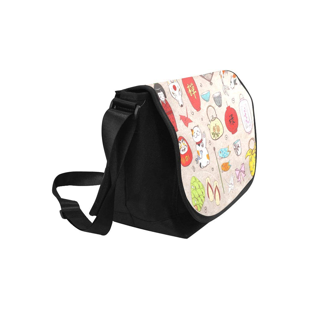 InterestPrint Japanese Art Mens Womens Messenger Bag Crossbody Shoulder Bags for School Traveling Black