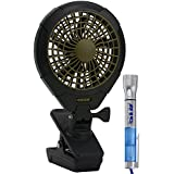 02cool Battery Operated Clip Fan with Bonus Flash Light