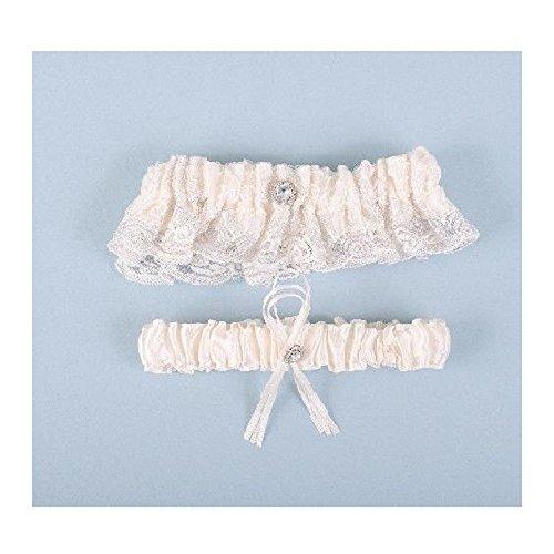 Beaucoup Wedding Bridal Garter Set (Ivory Lace Silver Rhinestone BGarter2)