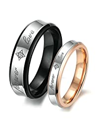"""Anazoz """"Forever Love"""" Stainless Steel Cubic Zirconia Promise Rings Matching Couple"""