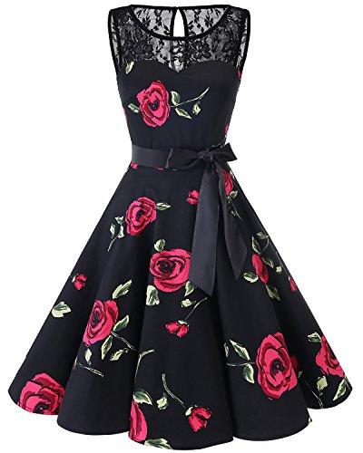 (Bbonlinedress Women's 1950s Vintage Rockabilly Swing Dress Lace Cocktail Prom Party Dress Black Red Brose M)