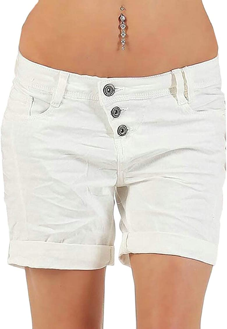 P/&E Womens Solid Pocket Simple Low Waist Pleated Buttons Short Pants