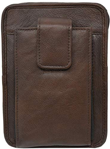 Garrison Grip Brown Leather Unisex OWB CCW Cell Phone Belt Pack for Medium  to Small Semi Automatics up to Glock 43, Ruger LC9, SCCY CPX1, CPX2, CPX3,