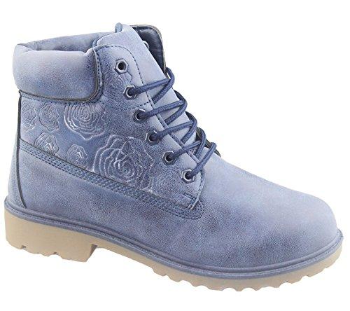Damen Stiefel, knöchelhoch, geeignet für Wandern/Wüstenpfad, verarbeitete Senkel Hellblau