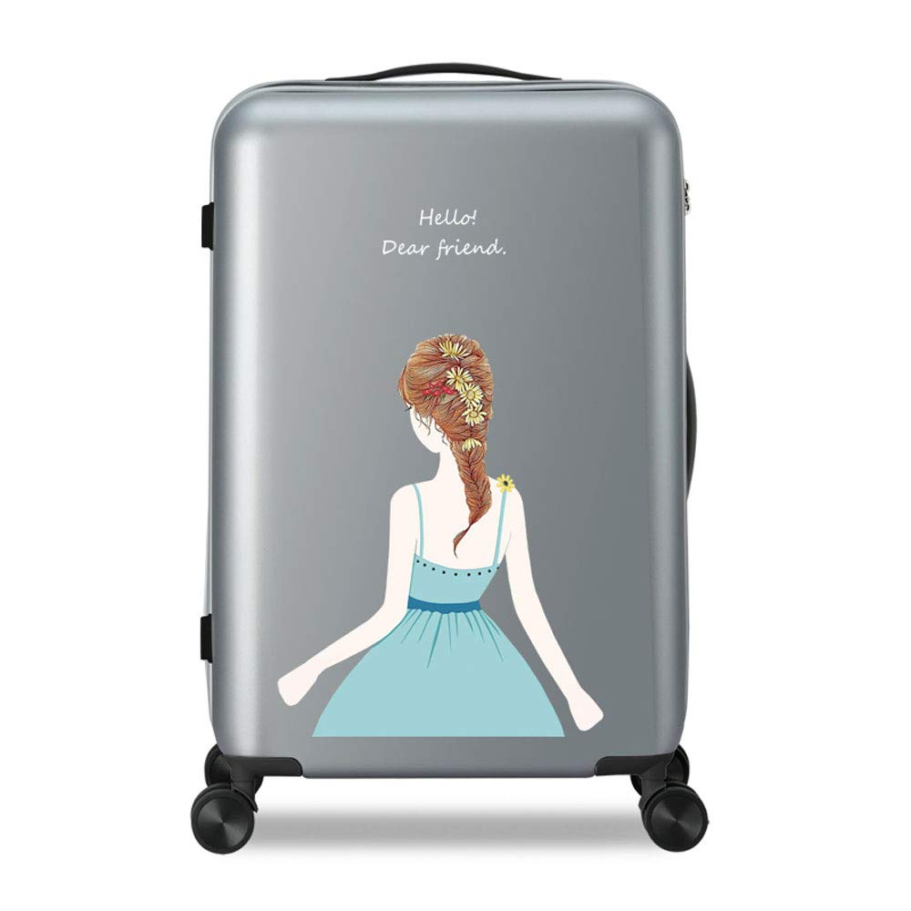 WJ スーツケース トロリーケース - ポリエステル/PC、TSA税関コードロック、ハニカムグレインパターン、美少女ファッション大容量ユニバーサルホイール防水傷防止学生パーソナリティ荷物 - 3色、2サイズご用意。 /-/ (色 : Gray, サイズ さいず : 34*24*49cm) 34*24*49cm Gray B07MYRGDNP