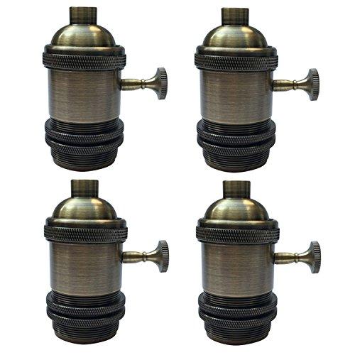 Tuscan Brass Finish (Vintage Lamp Base Holder, MKLOT Ecopower Minimalist Vintage Retro Mini Pendant Light Fixture Antique Brass Finish Hanging Edison Bulb Light Screw Socket E26 Base with Switch, 4 Packs)