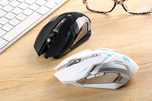 Wireless Gaming Mouse, VEGCOO C8 Silent Click Wireless Rechargeable Mouse with Colorful LED Lights and 2400/1600/1000 DPI, 1000mAh Lithium Battery for Laptop and Computer (C9 White)