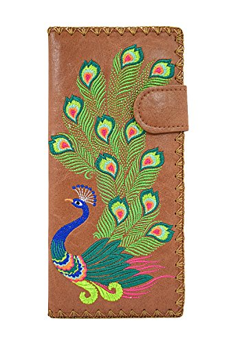 Lavishy Sacred Peacock Embroidered Large Wallet (Brown)