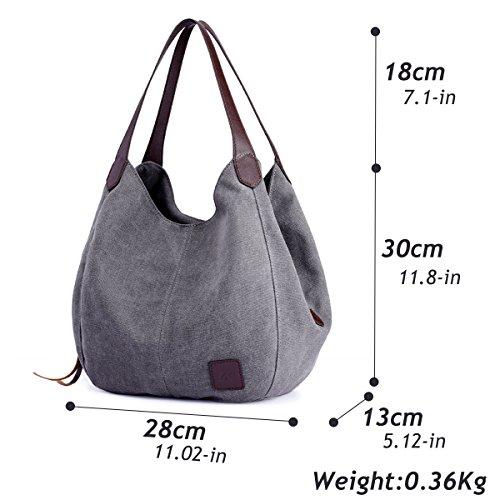Hiigoo Fashion Women's Multi-pocket Cotton Canvas Handbags Shoulder Bags Totes Purses (Grey)