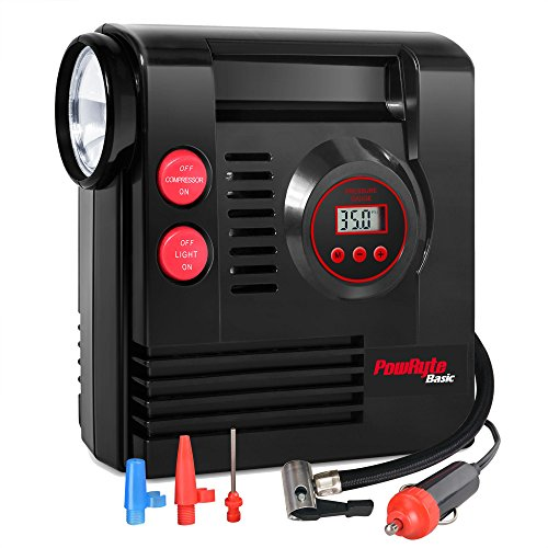 PowRyte Basic Compact Digital Tire Inflator with Built-in Flashlight - 12 Volt DC Portable Air Compressor