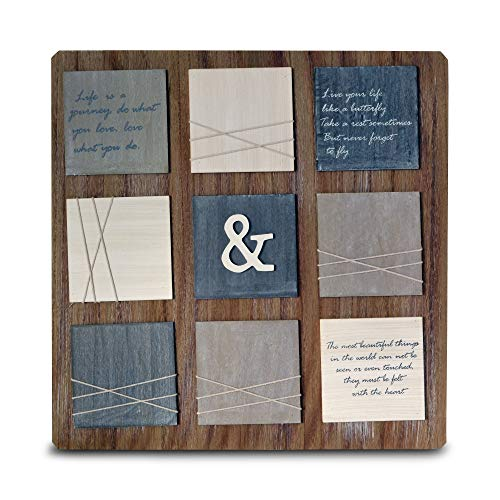 WHW Whole House Worlds Rustic Love What You DO Multi-Photo Card Holder Collage Frame, Holds 4 x 6 Photos, Brown Grainy Wood, Contrasting Raised Blocks, Word Art, 22 3/4 Inches, French Memo Board