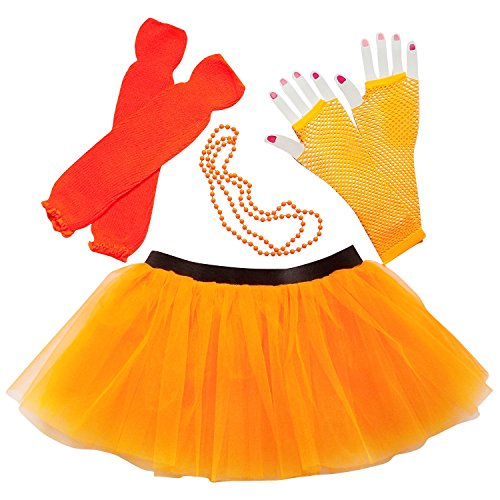 80's Costumes For Halloween (Womens Teen 80's Costume & Accessories - Tutu Leg Warmers Fishnet Gloves Beads (Neon Orange))