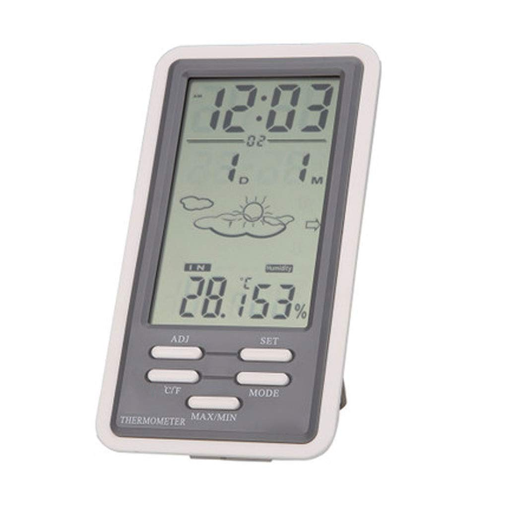 MSNDD Large LCD Digital Indoor/Outdoor Temperature Thermometer Hygrometer Humidity Meter Clock