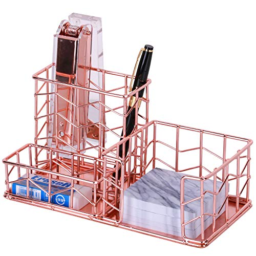 - Desk Organizer, Nugorise 3 Compartment Metal Desktop Organizer - Pen, Memo, Business Card Holder, Decorative Wire Desk Supplies Organizer Storage for Home, Office and School, Rose Gold